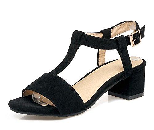Suede Easemax Faux Trendy Toe Strap Sandals Mid Chunky Buckle Heel Womens Ankle Black T Open Urrn5x1tw