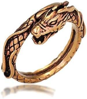 Oxidized Copper Dragon Ring - Size 8