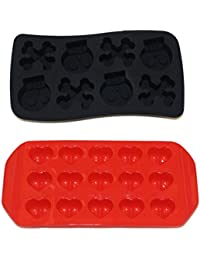 Bargain 2-Pack Ice Cube Trays Silicone Molds, Heart Shaped and Skull & Cross Bones Fun Halloween Party Themes for Freezer... offer