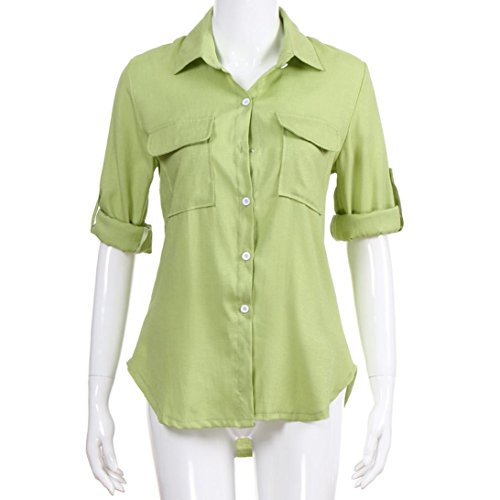 Vert Casual Coton Femme Chemisier Boutons Chemisier Manches Automne Solide T Col Lin Dcontract Loisirs Shirt Chic Chemises V Tops Hauts Blouse Longues Lache Vest Zqrg0Zwf