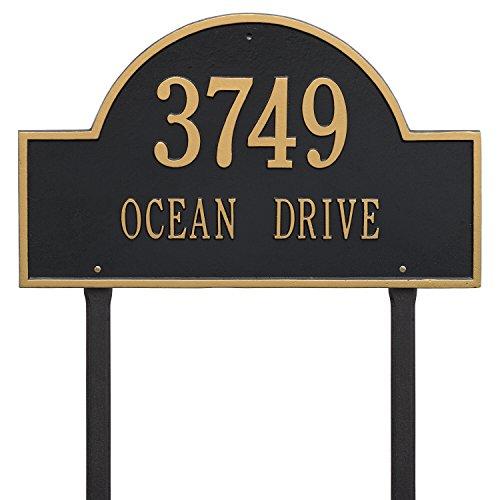 Estate Marker Address Sign - Whitehall Products Arch Marker Estate Black/Gold Lawn 2-Line Address Plaque