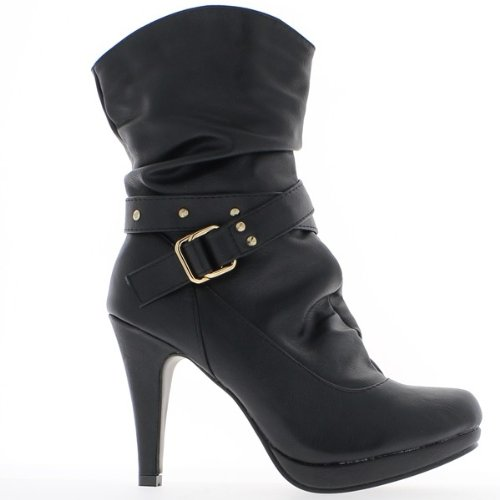 ChaussMoi Black women boots with zipper and 10cm heel 3myhEcMKO