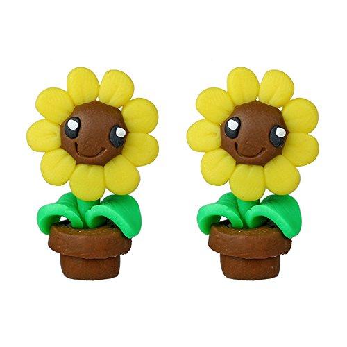 - Refaxi Women Cute 3D Cartoon Animal Polymer Clay Ear Stud Earrings Jewelry Gift (#10 Sunflower)