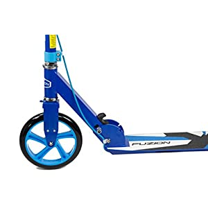 Fuzion Cityglide B200 Adult Kick Scooter w/ Hand brake - 220lb Weight Limit - Folds Down - Adjustable Handle Bars - Smooth & Fast Ride (Midnight Blue)