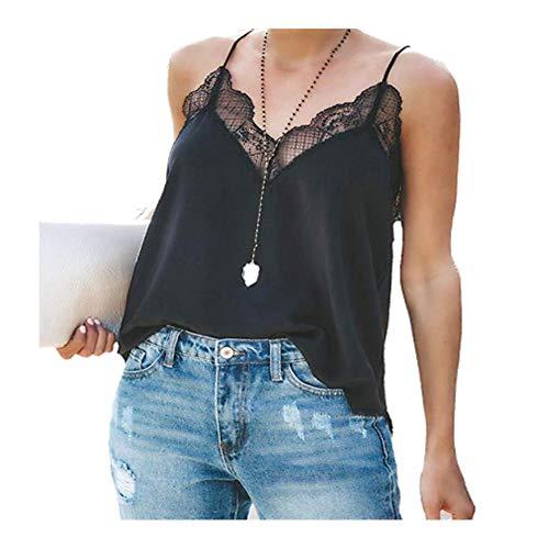 - ZDUM Summer Women's Chiffon Lace T-Shirt, Off Shoulder Sleeveless Sexy V-Neck Comfy Elegant Tops, Household Party Travel (L) Black