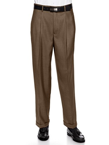 Giovanni Uomo Mens Pleate Front Traditional Fit Dress Pant  Bronze 46 Short