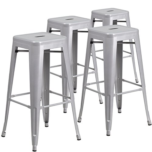Flash Furniture 4-CH-31320-30-SIL-GG Metal Indoor-Outdoor Barstool with Square Seat, 4 Pack, Silver