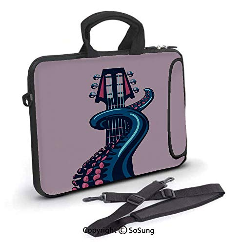 (14 inch Laptop Case,Octopus Tentacle is Holding Guitar Riff Musical Instrument Rock and Roll Modern Artwork Neoprene Laptop Shoulder Bag Sleeve Case with Handle and Carrying & External Side Pocket,for)