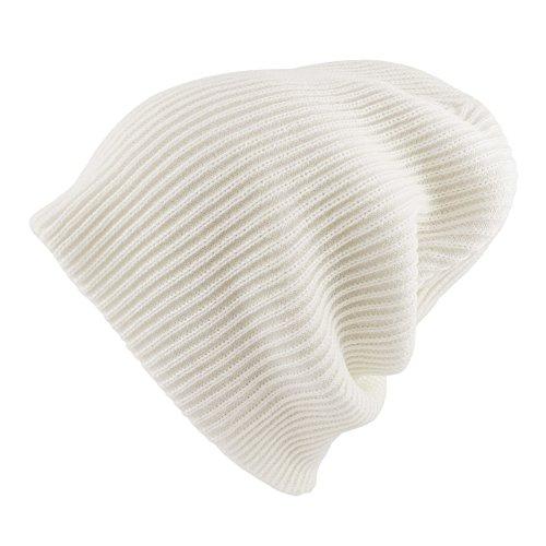 Morehats Corduroy Knit Slouchy Beanie Winter Warm Ski Skater Hip-hop Hat - Off White