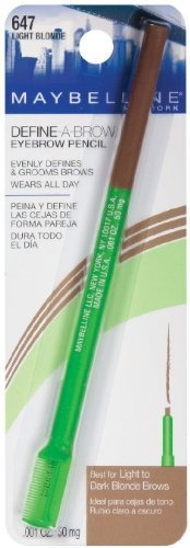 Maybelline New York Define-A-Brow Eyebrow Pencil 647 Light Blonde .001 OZ. (50 mg) (PACK OF 10) by Maybelline New York