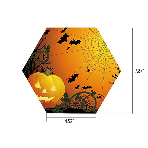 PTANGKK Hexagon Wall Sticker,Mural Decal,Spider Web,Halloween Themed Composition with Pumpkin Leaves Trees Web and Bats Decorative,Orange Dark Green Black,for Home Decor 4.52x7.87 10 Pcs/Set