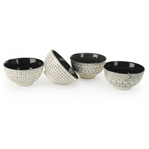 Signature Housewares GEO Printed Stoneware Bowls - Soup - Salad - Ice Cream - Pasta - Microwave Safe - Dishwasher Safe - Lead Free (4 EACH) 5
