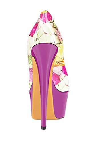 Guoar - Zapatos con tacón Mujer Bunt und Rosa