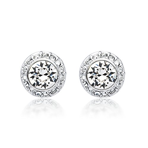 MYJS Angelic Rhodium Plated Classic Stud Earrings with Clear Swarovski Crystals Classic Clear Studs
