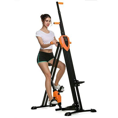 ANCHEER Vertical Climber Folding Exercise Climbing Machine, Exercise Equipment Climber for Home Gym, Exercise Bike for Home Body Trainer (Pink) (Orange)