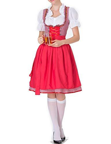 IYOWEL Women German Dirndl Dress Costumes for Bavarian Oktoberfest Halloween Carnival Maid Cotsume (S, Red)