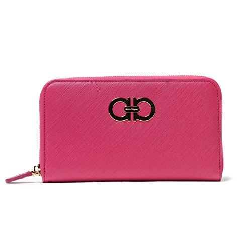 Salvatore Ferragamo Womens Gancini Zip Around Leather Wallet (One size, Agata Rosa)