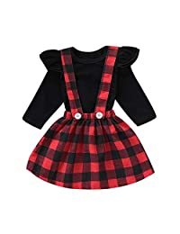 Baby Toddler Girls Ruffles Sleeve Outfits Solid Tops Suspender Skirt Overall Set (Color : BLACK+RED, Size : 3T-4T)