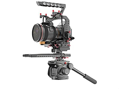 Gudsen MZ-C Camera Cage with Remote, Power Supply, Rodriser for Sony A7s2, A7r2, GH4, BMPCC (Black)