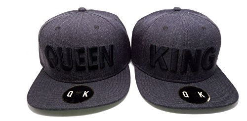 MATCHING SNAPBACKS for COUPLES (KING & QUEEN, Dark Grey)