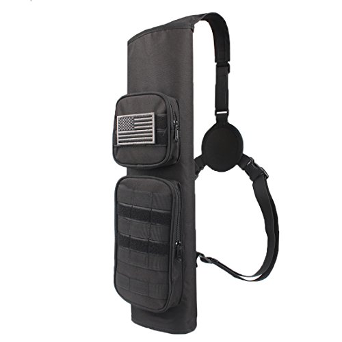 KRATARC Archery Back Arrows Quiver Bag with Molle System and Pockets for Hunting Shooting Target Practice
