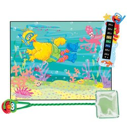 Sesame Street Fish Tank Accessories Net Thermometer Big Bird Background
