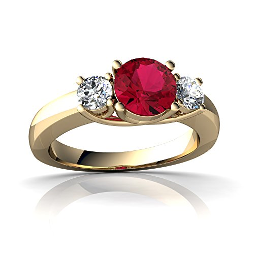 14kt Yellow Gold Lab Ruby and Diamond 6mm Round Three Stone Trellis Ring - Size 7.5 (Ruby Trellis Ring)