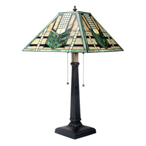 YTC Summit 26 Inch Stained Glass Pattern Shade Green Arrow Mission Lamp, Multi Color Review