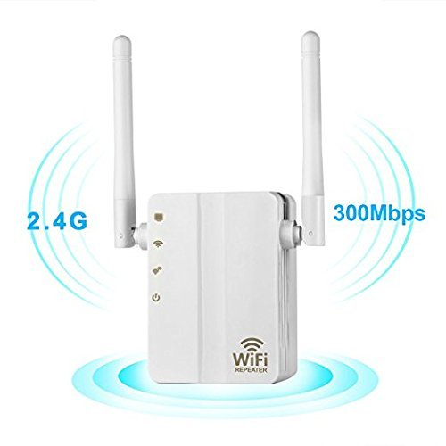 WiFi Range Extender,Romossy 300Mbps Fast Speed WiFi Booster Wireless Repeater with High Gain Dual External Antennas and 360 degree WiFi Coverage-White … by Romossy