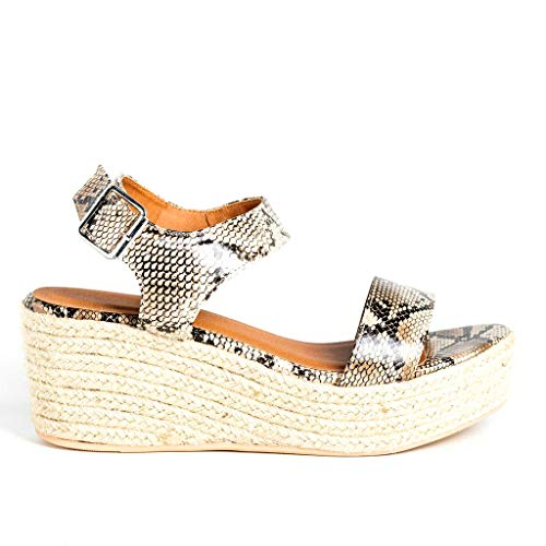 Womens Casual Espadrilles Trim Rubber Sole Flatform Studded Wedge Buckle Ankle Strap Open Toe Sandal (8.5, Natural Python)
