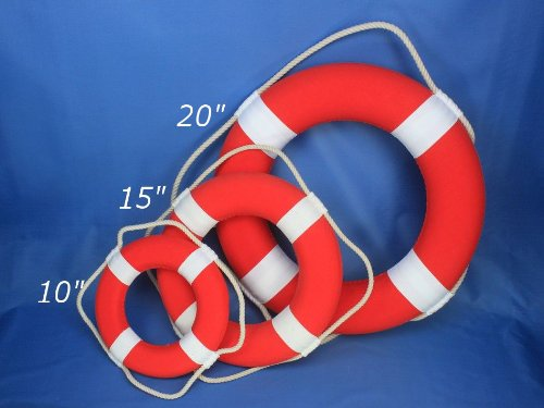 Hampton Nautical Decorative Vibrant Red Lifering with White Bands, 15 inches by Hampton Nautical (Image #3)