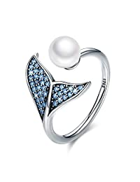 Forever Queen Mermaid Tail Ring, S925 Sterling Silver Dolphin Tail Adjustable Finger Ring for Women Girls Open Ring with Blue Cubic Zirconia& Shell Pearl