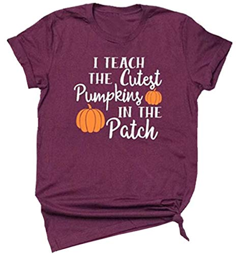 I Teach The Cutest Pumpkins in The Patch Halloween T-Shirt Funny Costume Women Casual Short Sleeve Tee Size S (Red) ()