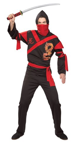Ninja Costumes Adults (Rubie's Costume Co. Men's Dragon Ninja Warrior Costume, As Shown, One Size)