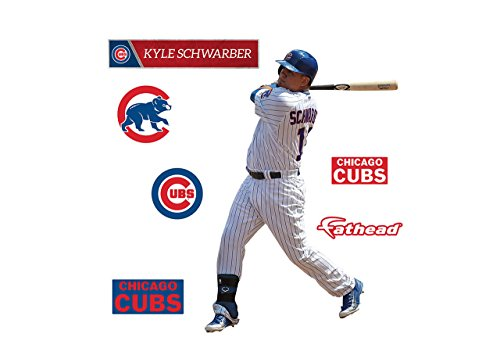 Kyle Schwarber FATHEAD Chicago Cubs Logo Set Official MLB Vinyl Wall Graphics 17'' INCH by FATHEAD