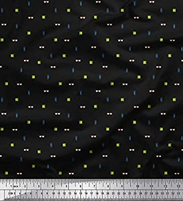Soimoi Negro dril de algodon Tela Especificaciones, Locker y Papel Pin tela de camisa tela estampada de 1 metro 56 Pulgadas de ancho: Amazon.es: Hogar