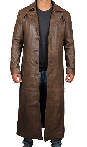 r Outerwear Antique Real Brown Leather Overcoat Mens Jacket | [1500274] L ()