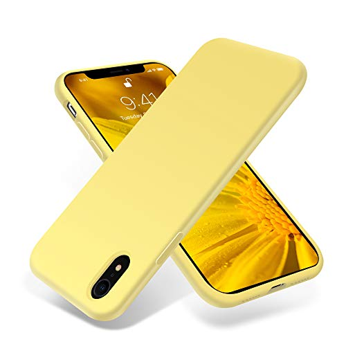 for iPhone XR Case, OTOFLY [Silky and Soft Touch Series] Premium Soft Silicone Rubber Full-Body Protective Bumper Case Compatible with Apple iPhone XR - Yellow