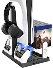 $39 » Vertical Stand with Headset Holder and Cooling Fan Base for PS5 Console/Digital Edition, 2 Controller Chargers, 15 Game Disc Slots, 3 USB Hubs and 1 Media Remote Storage