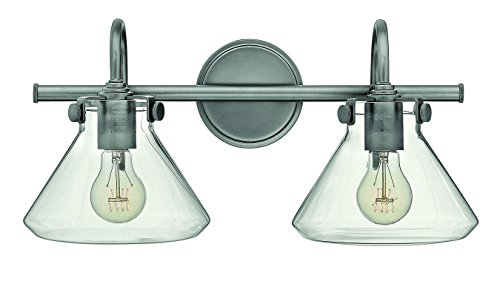 Antique Nickel Two Light Bath - Hinkley 50026AN Restoration Two Light Bath from Congress collection in Pwt, Nckl, B/S, Slvr.finish,
