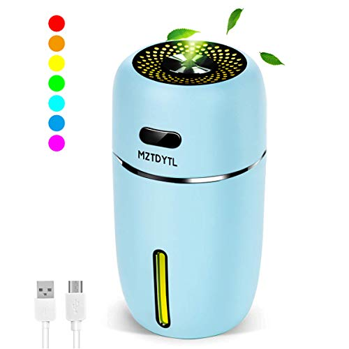 MZTDYTL Portable Mini USB Humidifier, 200ml Ultrasonic Cool Mist Humidifier with 7 Colors Light Changing for Bedroom Home Office Travel,Auto Shut-Off, Super Quiet Operation (Blue)