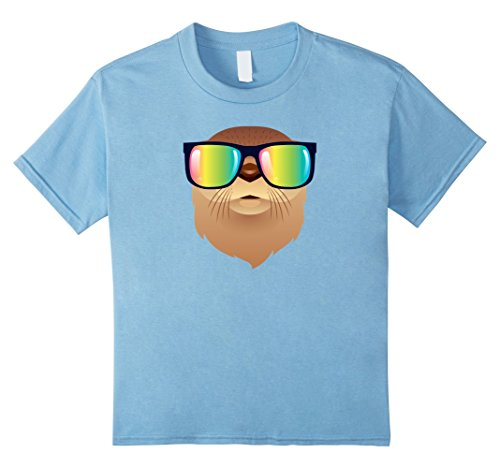 Kids Cool Otter With 80s Rainbow Color Sunglasses T-Shirt 10 Baby - Kid 80s Sunglasses Baby
