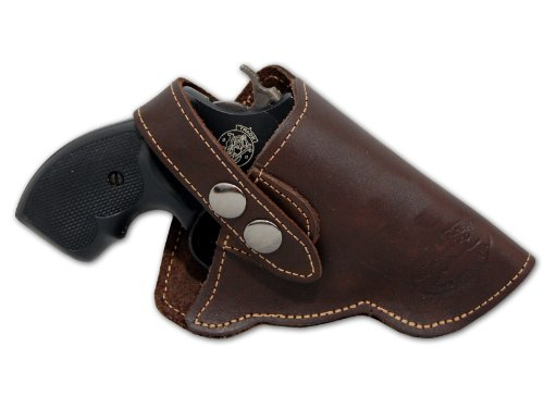 Barsony Brown Leather Gun Concealment Holster for Ruger LCR 38, 357 Right