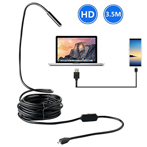 BlueFire Upgraded USB Borescope Semi-Rigid Endoscope Inspection Camera 2.0 Megapixels CMOS HD Waterproof Snake Camera for Android Smartphone, Samsung, Notebook (6.6FT)