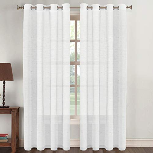Flamingo P Linen Curtain Panel Window Treatments Panels Open Weave Linen Blended Sheer Curtains Grommet Linen Sheer Drapes