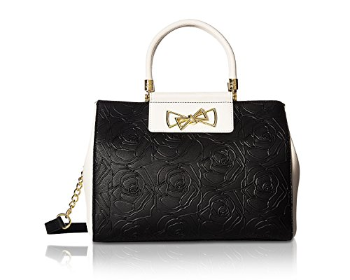 - Betsey Johnson Womens Top Handle Logo Satchel Black One Size