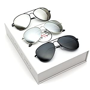 Aviator Full Silver Mirror Metal Frame Sunglasses (Box: Black Frame w/Polarized Mirror Silver Lens, Silver Frame w/Polarized Mirror Silver Lens, Black Frame w/Polarized Black Lens 57)