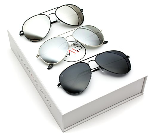 Aviator Full Silver Mirror Metal Frame Sunglasses (Box: Black Frame w/Polarized Mirror Silver Lens, Silver Frame w/Polarized Mirror Silver Lens, Black Frame w/Polarized Black Lens - Deal Friday Sunglasses Black