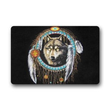 Custom Elegant Pattern Wolf Welcome Door Mat Rug Indoor/Outdoor Mats Welcome Doormat Decor Rug 23.6