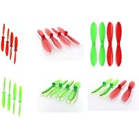 Hubsan X4 H107D [QTY: 1] Transparent Clear Green Propeller Blades Props Rotor Set 55mm Factory Units [QTY: 1] Red [QTY: 1] and [QTY: 1] Propellers Prop Blade Greens [QTY: 1] Reds [QTY: 1]